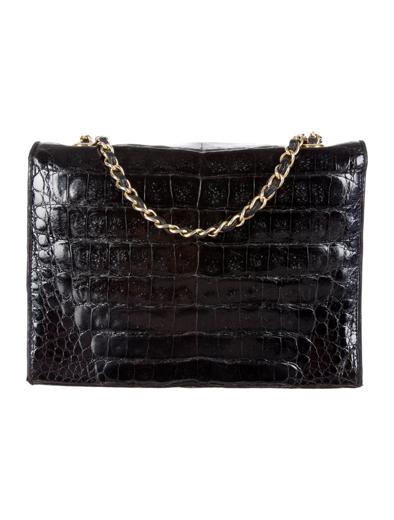 Women's Chanel Black Crocodile Leather Gold Evening Crossbody Shoulder Flap Bag For Sale