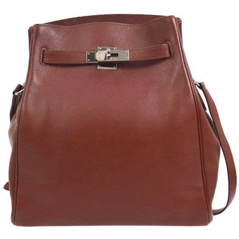 Hermes Rare Leather Gold Hardware Travel Sport Single Shoulder Carryall Bag