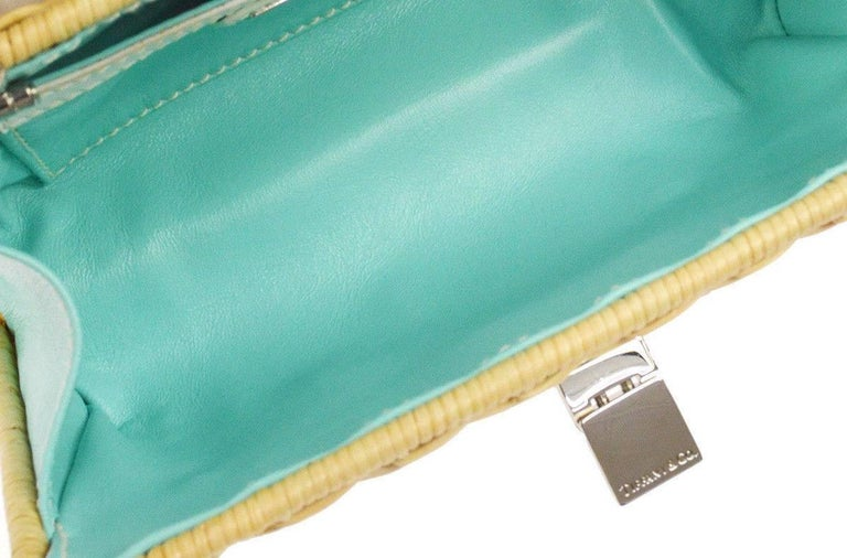 Women's Tiffany & Co. Tan Wicker Leather Lunch Evening 2 in 1 Clutch Shoulder Bag in Box For Sale