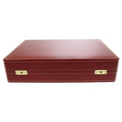 Cartier Red Leather Men's Women's Travel Storage Vanity Watch Case Trunk in Box