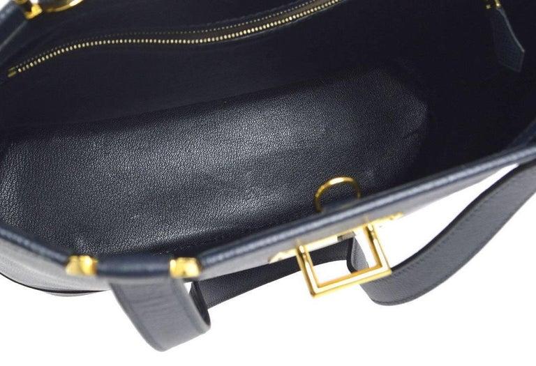 Women's Hermes Dark Blue Gold Hardware Slip Closure Travel Carryall Tote Shoulder Bag For Sale