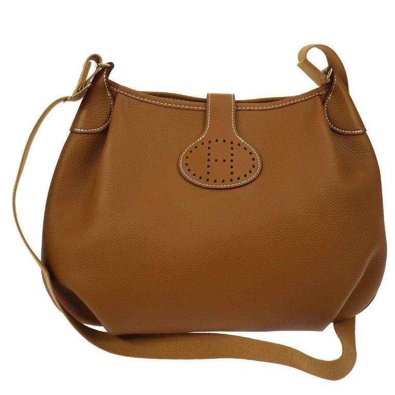 Hermes Cognac Leather H Men's Women's Carryall Messenger Crossbody Shoulder Bag