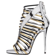 Giuseppe Zanotti New Gold Silver Patent Gladiator Evening Sandals Heels in Box