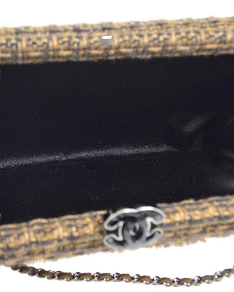 Chanel Cognac Brown Tweed Fur Envelope 2 in 1 Evening Chain Clutch Shoulder Bag For Sale 2