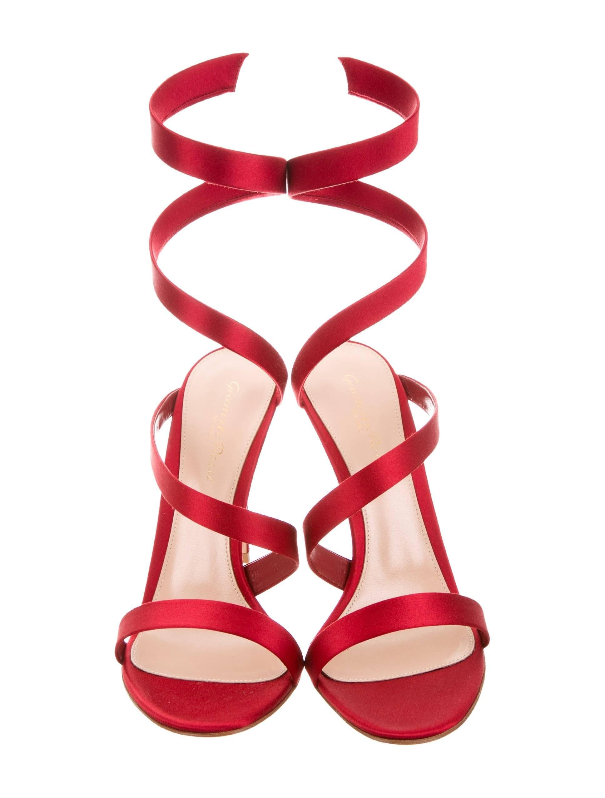 1064df9a2b4 Gianvito Rossi Red Satin Wraparound Evening Sandals Heels at 1stdibs