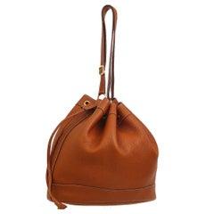 Hermes Vintage Cognac Leather Bucket Drawstring Carryall Shoulder Bag