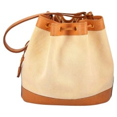 Hermes Vintage Cognac Leather Canvas Bucket Drawstring Carryall Shoulder Bag