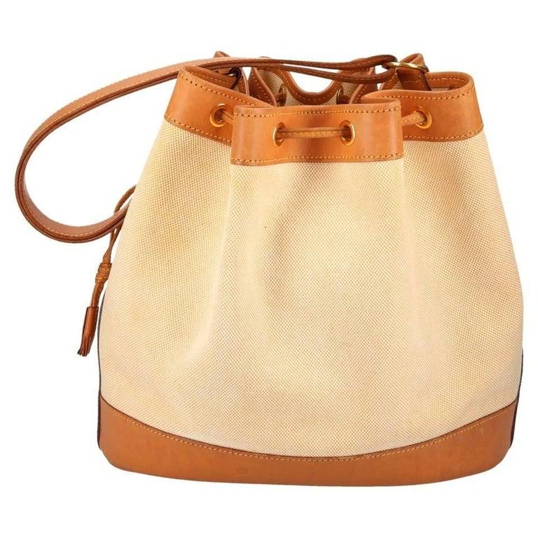 Hermes Vintage Cognac Leather Canvas Bucket Drawstring Carryall Shoulder Bag