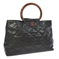 Chanel Black Leather Cross Stitch Kelly Brown Top Handle Satchel Bag