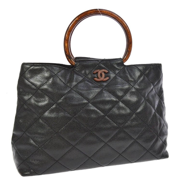 Chanel Black Leather Cross Sch Kelly Brown Top Handle Satchel Bag For