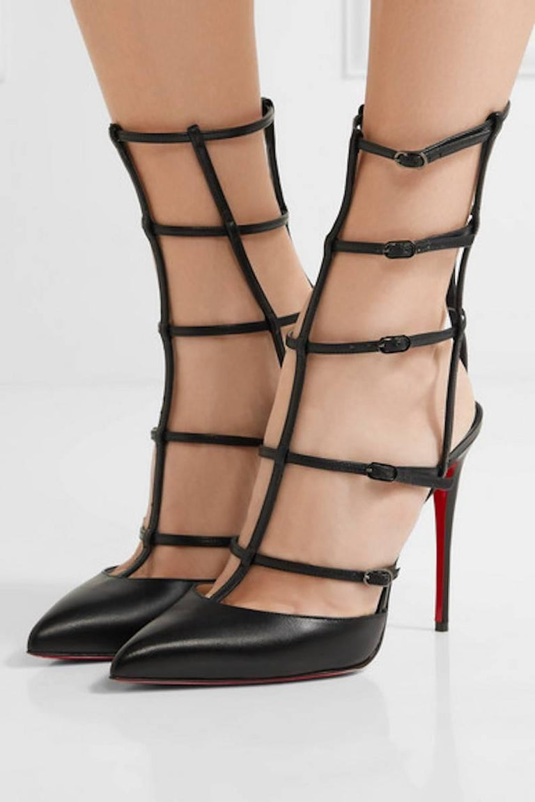 64c779db9df Christian Louboutin Black Leather Cage Evening Sandals Heels Pumps in Box
