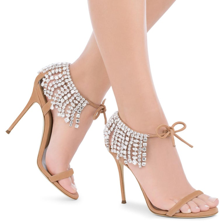 Giuseppe Zanotti NEW Nude BlushCrystal Slide in Mules Sandals Heels in Box  Size IT 36 Satin Crystal Slide on Tie closures Made in Italy Heel height 4.5