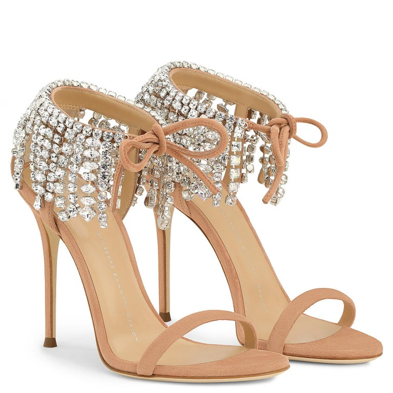 Beige Giuseppe Zanotti Nude Blush Crystal Slide in Mules Sandals Heels  For Sale