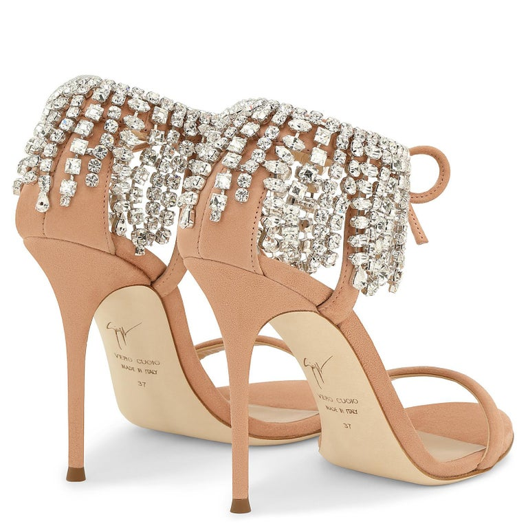 Giuseppe Zanotti Nude Blush Crystal Slide in Mules Sandals Heels  In New Condition For Sale In Chicago, IL