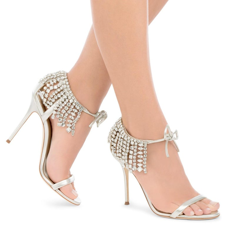 Giuseppe Zanotti NEW Silver Crystal Tie Evening Sandals Heels in Box  Size IT 36 Leather Crystal Tie closures Made in Italy Heel height 4