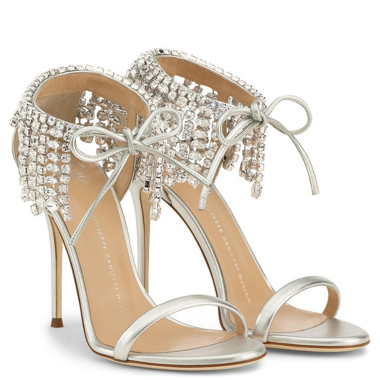 Giuseppe Zanotti Silver Crystal Evening Tie Sandals Heels   In New Condition For Sale In Chicago, IL