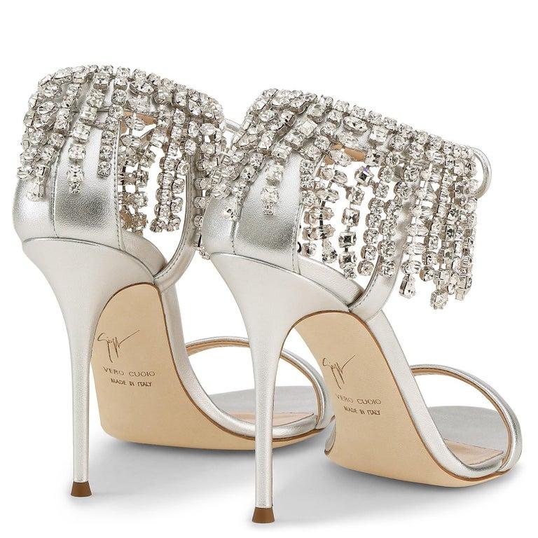 Women's Giuseppe Zanotti Silver Crystal Evening Tie Sandals Heels   For Sale