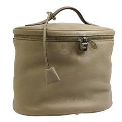Hermes Nude Leather Vanity Jewelry Travel Storage CarryAll Handle Bag