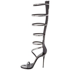 Giuseppe Zanotti Black Patent Crystal Tall Gladiator Evening Heels Sandals