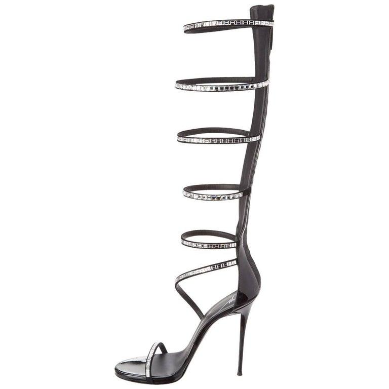Giuseppe Zanotti Black Patent Crystal Tall Gladiator Evening Heels Sandals
