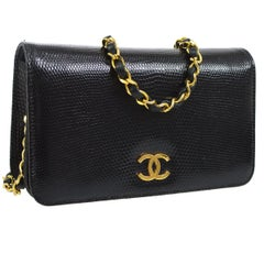 Chanel Black Lizard Gold WOC Clutch Evening Flap Shoulder Bag