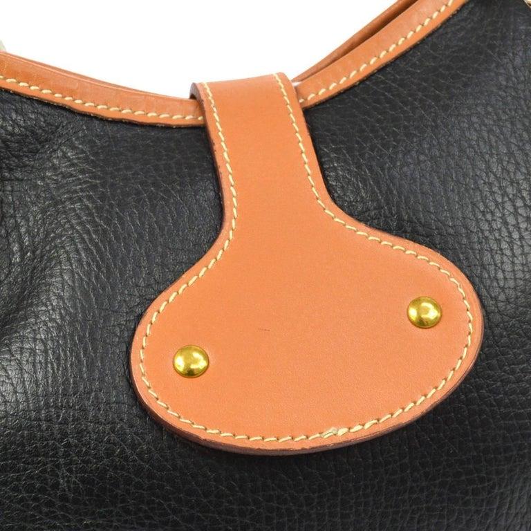 4f00629af0d9 Hermes Black Cognac Leather Hobo Style Shoulder Crossbody Saddle Bag In  Excellent Condition For Sale In