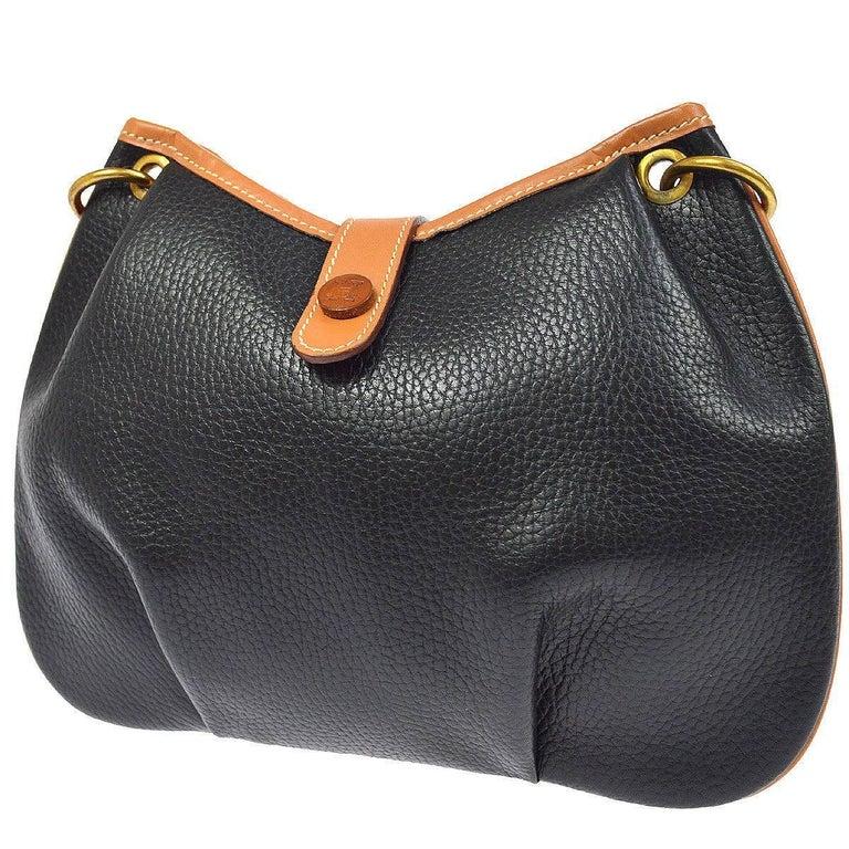 a4d3deb26ef4 Women s Hermes Black Cognac Leather Hobo Style Shoulder Crossbody Saddle Bag  For Sale