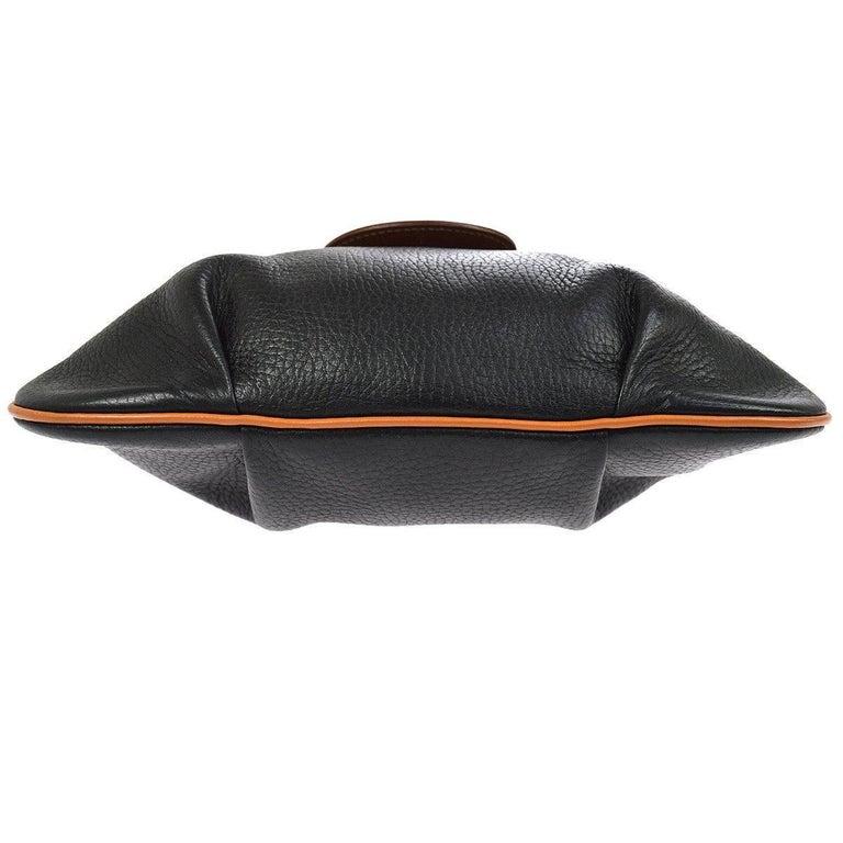 534cc1ee1fe4 Hermes Black Cognac Leather Hobo Style Shoulder Crossbody Saddle Bag For  Sale 2