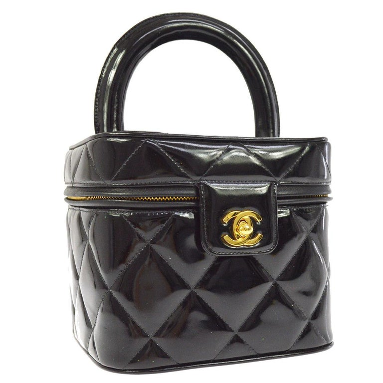 Chanel Black Patent Leather Quilted Top Handle Satchel Bag
