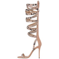 Giuseppe Zanotti Nude Leather Snake Evening Sandals Heels