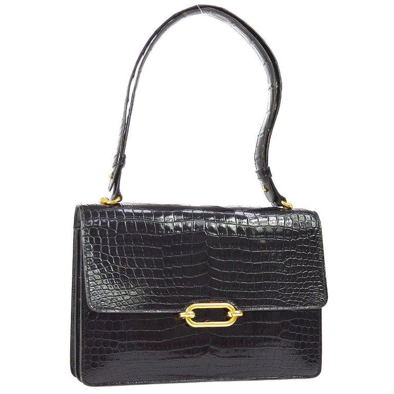 Hermes Black Crocodile Gold Evening Top Handle Satchel Kelly Flap Shoulder Bag