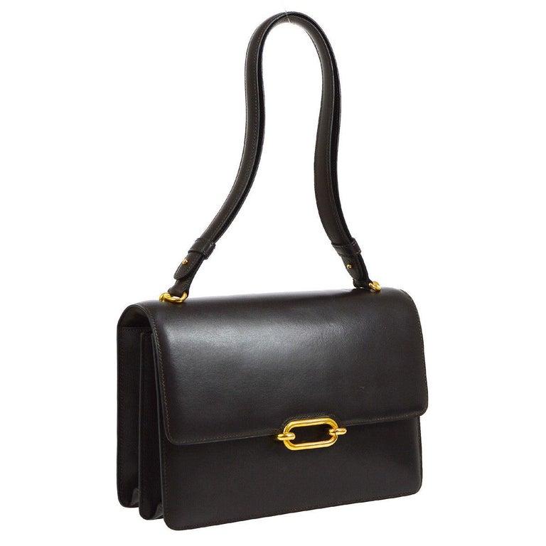 Hermes Leather Gold Evening Top Handle Satchel Kelly Flap Shoulder Bag