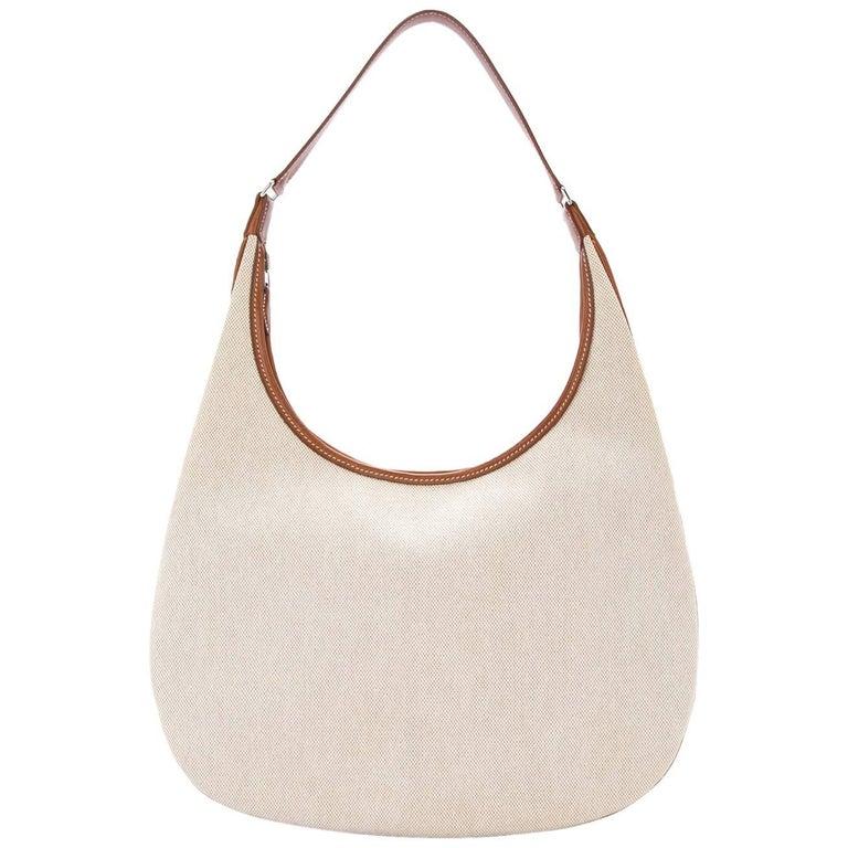 Hermes Tan Canvas Cognac Leather Trim Carryall Hobo Shoulder Bag in Box For Sale