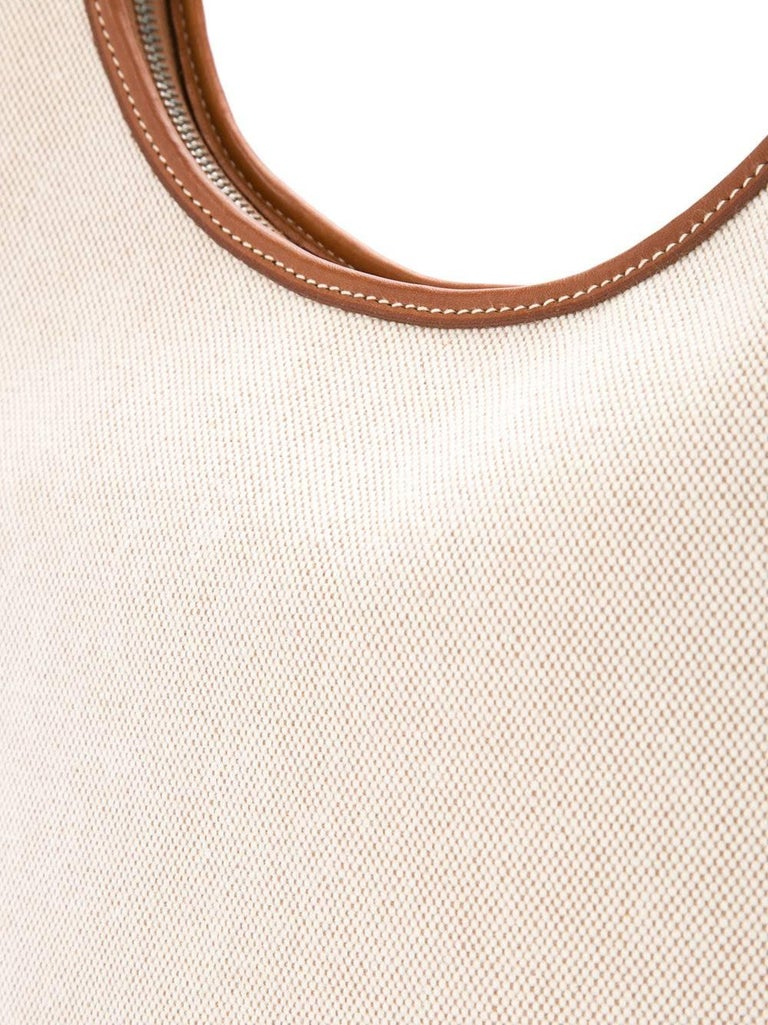 Beige Hermes Tan Canvas Cognac Leather Trim Carryall Hobo Shoulder Bag in Box For Sale