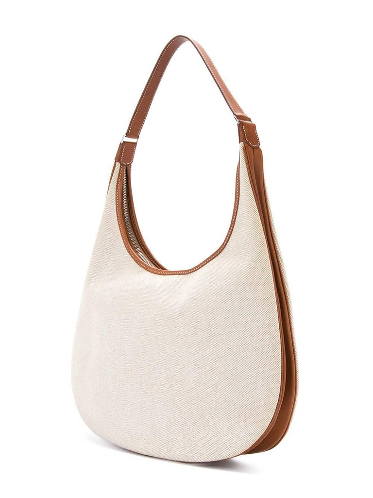 Hermes Tan Canvas Cognac Leather Trim Carryall Hobo Shoulder Bag in Box In Excellent Condition For Sale In Chicago, IL