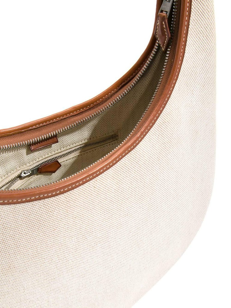 Hermes Tan Canvas Cognac Leather Trim Carryall Hobo Shoulder Bag in Box For Sale 1
