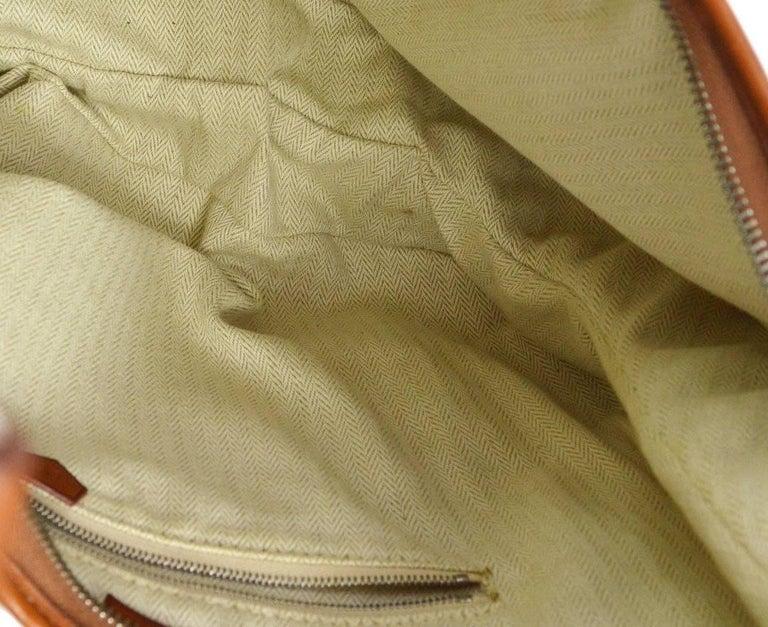 Hermes Tan Canvas Cognac Leather Trim Carryall Hobo Shoulder Bag in Box For Sale 2