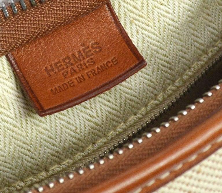 Hermes Tan Canvas Cognac Leather Trim Carryall Hobo Shoulder Bag in Box For Sale 3