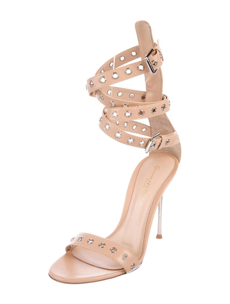 5a2f1649e Gianvito Rossi NEW Nude Leather Silver Evening Heels Sandals in Box Size IT  36 Leather Silver