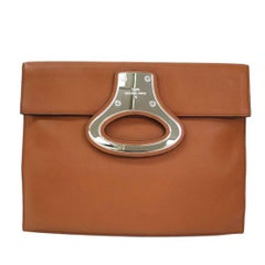 Louis Vuitton Cognac Leather Men's Women's Evening Carryall Envelope Clutch Bag