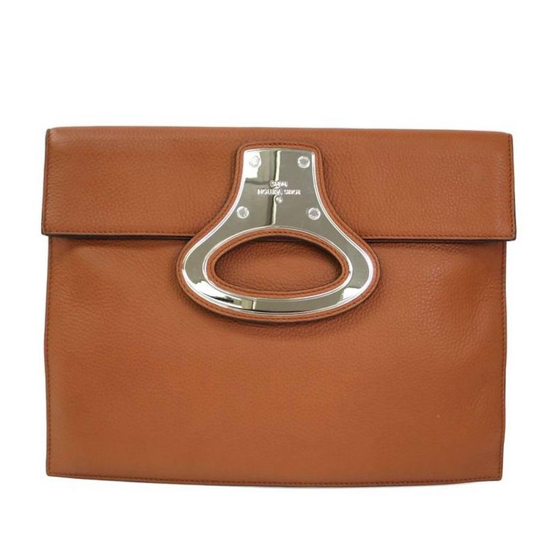 Louis Vuitton Cognac Leather Evening Carryall Envelope Clutch Bag For Sale