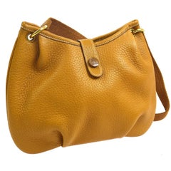 Hermes Mustard Leather Hobo Style Shoulder Crossbody Saddle Bag