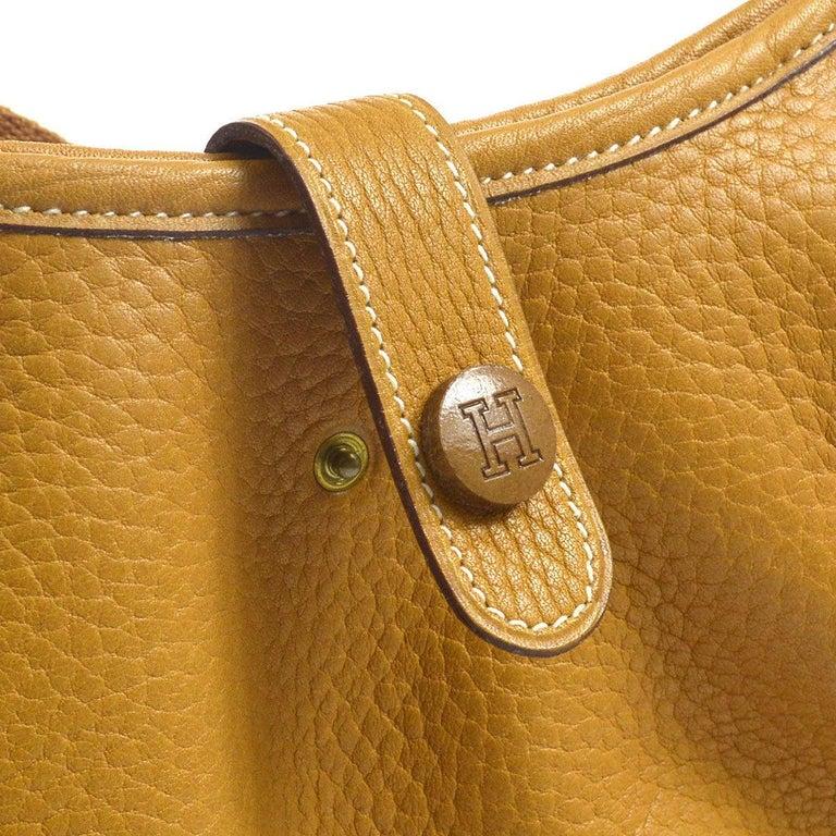 8c76d101d8 Hermes Mustard Leather Hobo Style Shoulder Crossbody Saddle Bag Leather  Gold tone hardware Made in France