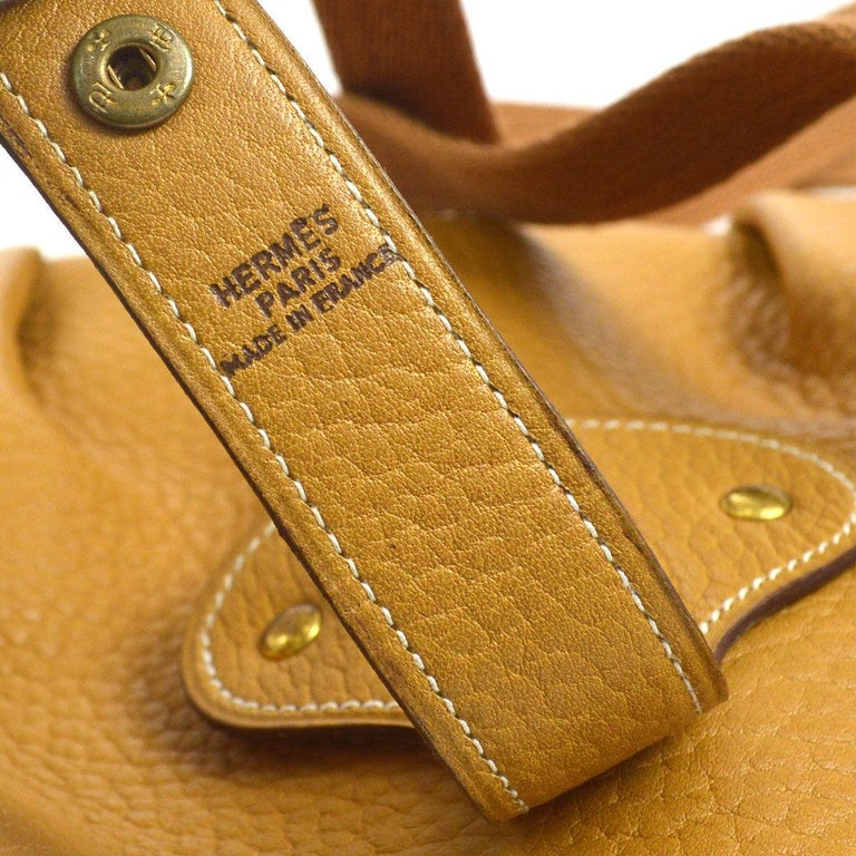 aa43cc2791b1 Hermes Mustard Leather Hobo Style Shoulder Crossbody Saddle Bag For ...