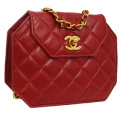 Chanel Red Leather Party Octagon 2 in 1 Clutch Evening Shoulder Flap Bag