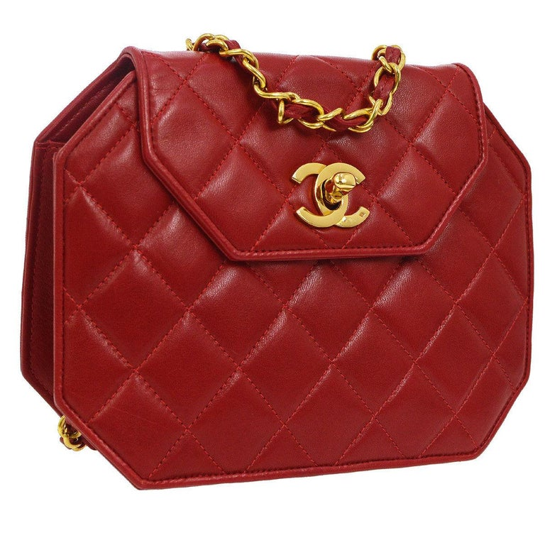 d0543aed2191 Chanel Red Leather Party Octagon 2 in 1 Clutch Evening Shoulder Flap Bag  For Sale