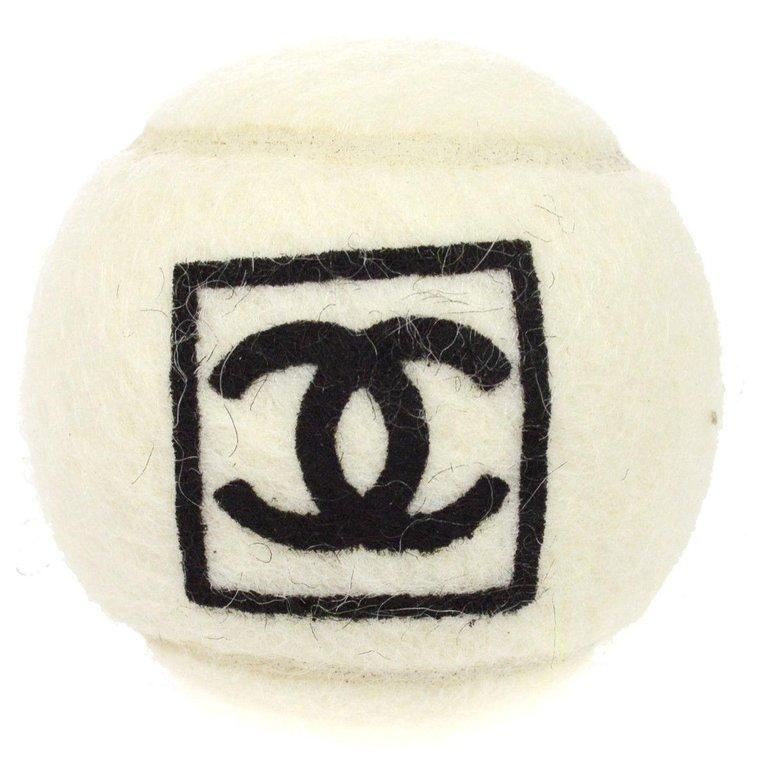 Chanel White Black Novelty Tennis Ball In Good Condition For Sale In Chicago, IL