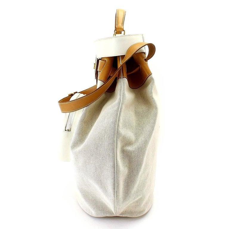 Hermes Tan Canvas Cognac Leather Top Handle Satchel Carryall Shoulder Bag For Sale 1
