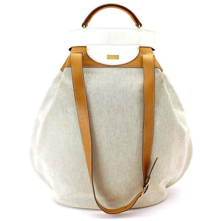 Hermes Tan Canvas Cognac Leather Top Handle Satchel Carryall Shoulder Bag For Sale 2