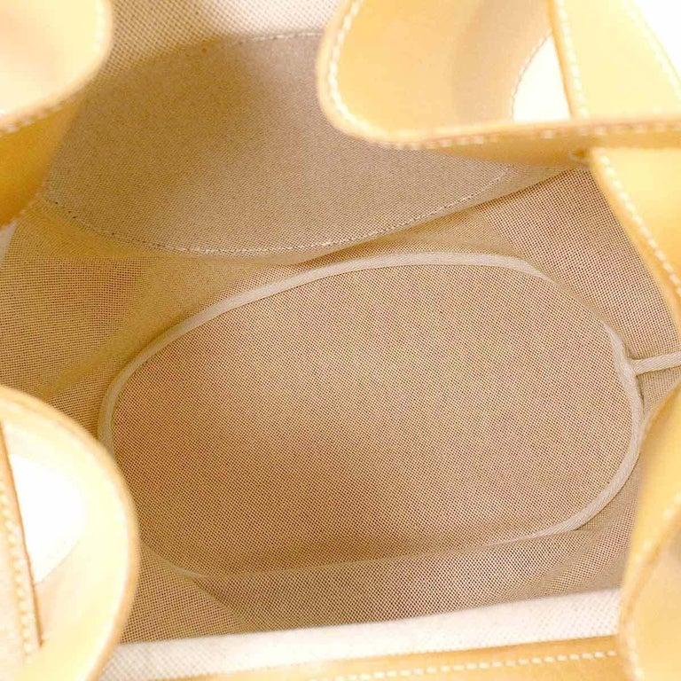 Hermes Tan Canvas Cognac Leather Top Handle Satchel Carryall Shoulder Bag For Sale 3
